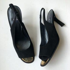 STUART WEITZMAN Slingback Black Suede Heels Sz 8.5